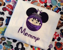 Monsters Inc Boo inspired Mickey ears Embroidered Shirt