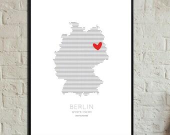 Berlin Love Poster. Instant Download. Wall art. Print art. Modern art. Typography Poster. Digital art.