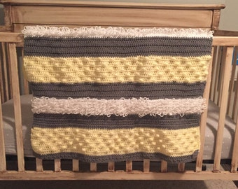 Yellow, Grey and White Loopy Bubble Baby Blanket