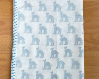 Anora Cotton Baby Blanket in White and Blue Camel Design;Organic Cotton, Dohar; Soft and Lightweight; Breathable, Durable and Eco Friendly