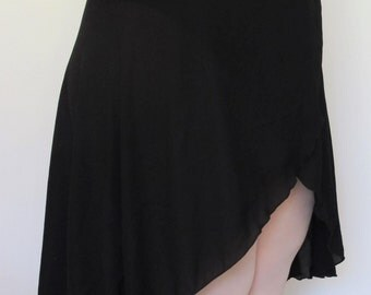 Extra Long tulip ballet wrap skirt, black