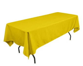 Superb Solid Table Cloth Durable Thick Polyester Machine Washable, Dining Room  Holiday Decor Lemon