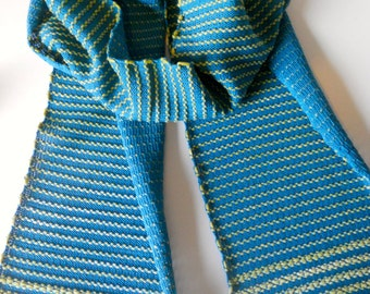 Handwoven Knitted Scarf Lemongrass and Teal