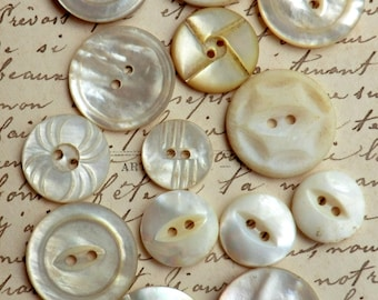 Vintage Mother of Pearl Buttons 14 Assorted Buttons