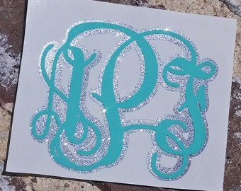 Glitter Layered Monogram Decal | Glitter Monogram | Vine Monogram Decal - Car Monogram | Computer Monogram | Preppy Monogram