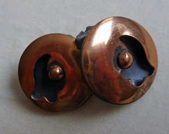 Cool Vintage Retro Copper Clip Earrings ...  Holiday Gift Idea