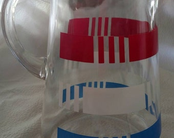Vintage Heavy Glass Pitcher//Water Pitcher - Red White and Blue Stripe