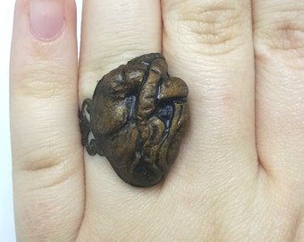 Anatomically Correct Golden Heart Ring
