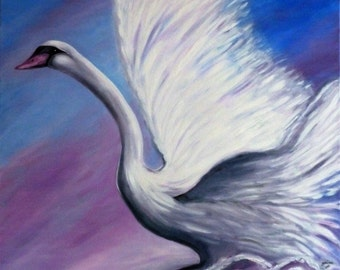 "Painting bird - ""Envol"" - table Swan - animal painting - oil on canvas painting."
