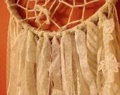 Vintage white lace bohemian dream catcher