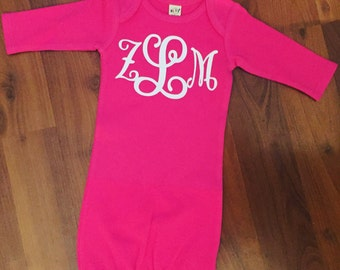 Baby gown - baby shower gift - baby clothing - monogram baby clothing - baby girl - baby boy - Sunday gown