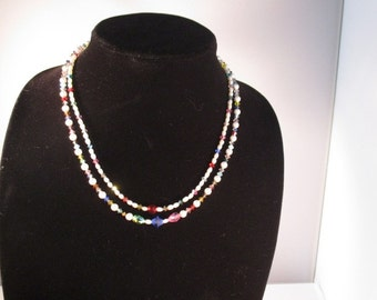 Double Strand Necklace. Swarovski Crystals. Pearls.