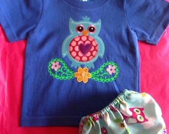 Adorable Owl t shirt with pamper cover