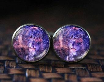 Violet Nebula cufflinks, Galaxy cufflinks, Universe cufflinks, Purple cufflinks, Violet cufflinks, Space cufflinks,