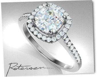 White Gold Engagement Ring - Cushion Cut Ring - Engagement Ring - 1 carat ring Halo Ring - White Gold rings alternative Moissanite rings