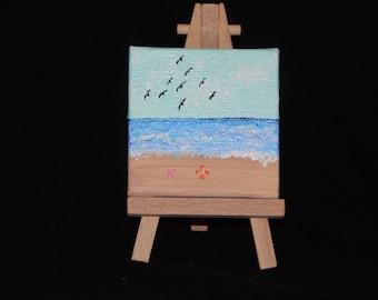 3x3 beach painting