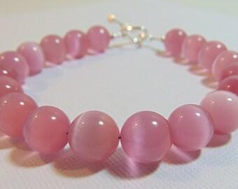 Sterling Silver 10MM Pink Cat's Eye Gemstone Bracelet