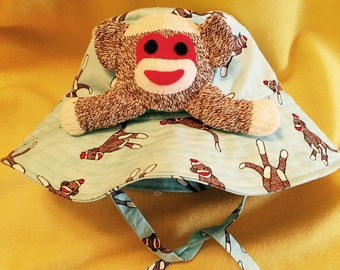 Child's Sunhat/Bucket Hat with Sock Monkey Fabric