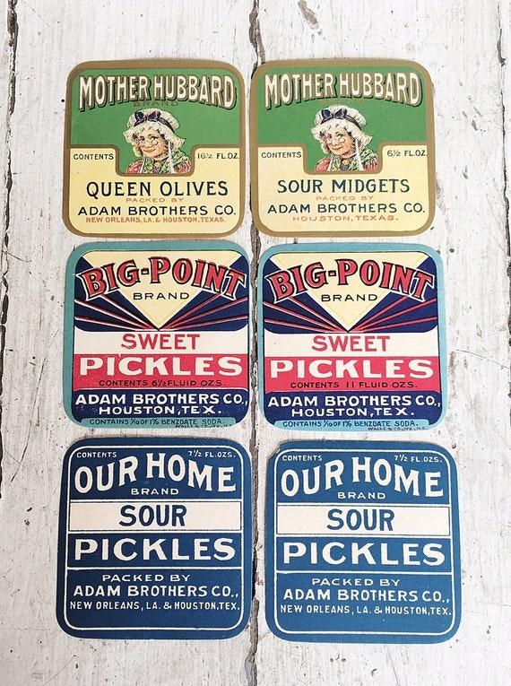 Set of 6 Vintage Pickle Labels