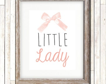 Little Lady| Baby Girl | Bow | Nursery | Wall Art | Digital Print | Printable Wall Art