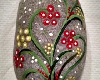 Flower Dots on Rock, hand painted rock, stones, mandala rocks