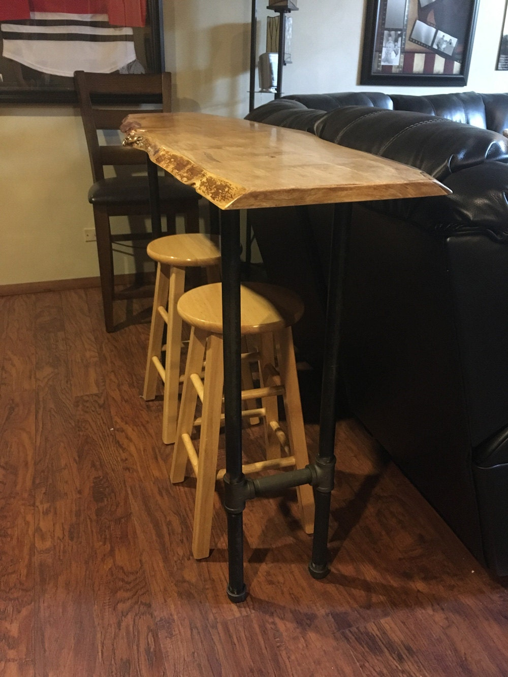 Bar Table With Live Edge Maple Or Walnut Wood Bar Height Sofa