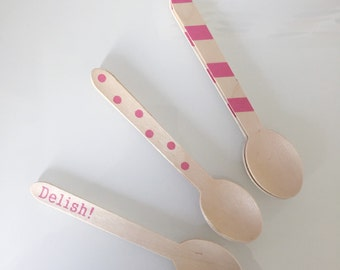 Stamped Wooden Spoons | Set of 8 | Pink Turquoise or Blue Sets | Biodegradable Earth Friendly