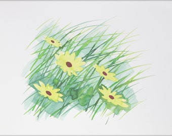 Original Watercolor, Not Print, 12.6inches x 9.4inches, Daisies Yellow, 24072013080mBLGBYW