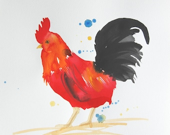 Original Watercolor Painting, Not Print, 9.4 inch x 12.6 inch, Rooster Red, 15062015142mFAHHRT