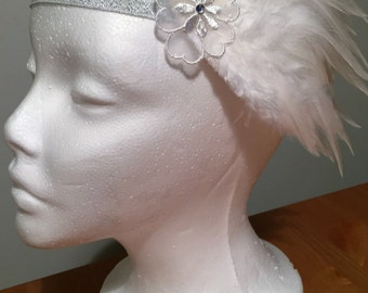 Vintage White Feather and Lace Flower Detail Headband