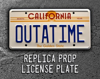Back to the Future / DeLorean / OUTATIME *Metal Stamped* Replica Prop License Plate