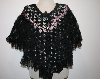 Fancy black poncho