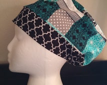 Women's Surgical Cap, Scrub Hat, Chemo Cap, Patch pattern with Quartefoil band
