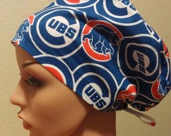 Women's Surgical Cap, Scrub Hat, Chemo Cap, Chicago Cubs
