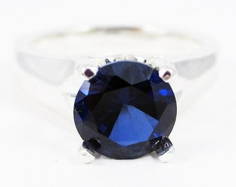 Sterling Silver Large Blue Sapphire Solitaire Ring, September Birthstone Ring, Sterling Silver Solitaire Ring, 925 Blue Sapphire Solitaire