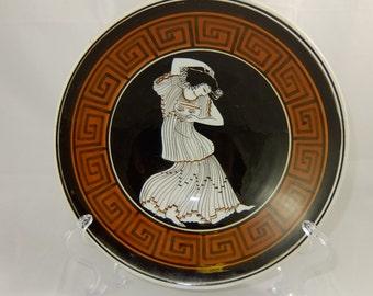 "Vintage Keramikos Bowl Featuring  a Greek Goddess, Hand Made in Athens Greece, 7 1/8"" Diameter"