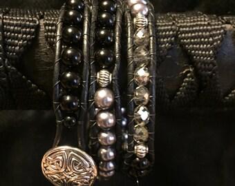 Leather Wrap Black Bracelet