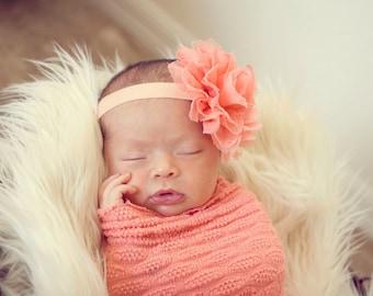 Peach Lace puff flower headband, Vintage shabby chic headband, baby headband, newborn photo prop,