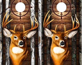 Deer Buck Head Dark Wood Camo Cornhole Wrap Bag Toss Decal Baggo Skin Sticker Wraps