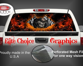 Race Cowboy Skull Flames Rear Window Graphic Tint Decal Sticker Truck SUV Van Car