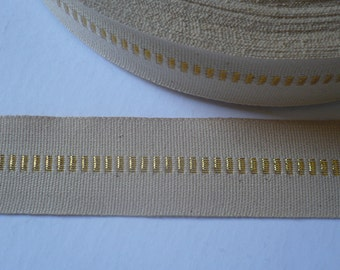 Vintage Unbleached Cotton Webbing with Gold thread. 35mms. x 5 Metres