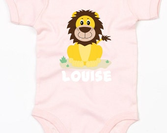 Personalised baby lion vest/bodysuit girls