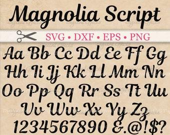 Magnolia Script SVG, Retro Script Monogram Font Svg, Dxf, Eps, Png;  Brush font, Fancy Script, Cursive SVG Font, Silhouette Files, Cricut