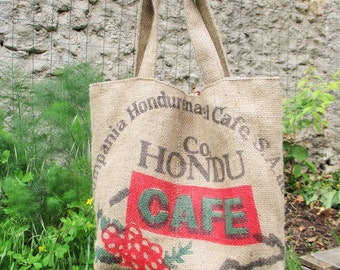 Recycled coffee burlap ideal beach or shopping bag tote bag