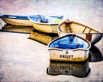 Cape Cod, Colorful Rowboats, New England Coast, Chatham, Cape Row Boats, Four Boats In Tow, Textured Photo, Cape Cod Travel, Wall Decor