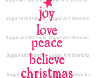 Joy love peace believe Christmas words stencil for cookie decorating , cookie stencil !  NB22221
