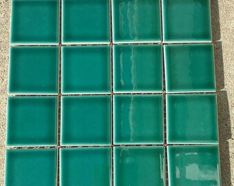 New beautiful sea green glazed ceramic tile sheets. 11 3/4 x 11 1/2 inches.