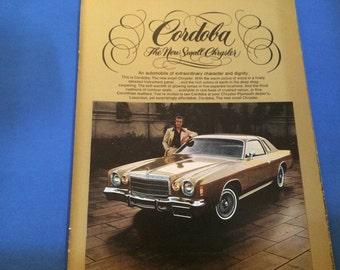 1975 Córdoba the new small Chrysler Vintage Magazine Ad