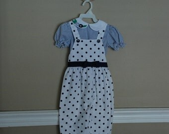Vintage Toddler Outfit, Navy + White Polka Dots, Size 4T