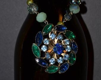 Wine bottle decoration, blue & green rhinestones  (#B35)